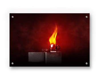 Scarlet  Lighter  printed on Brushed aluminum