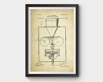 Thomas Edison's Kinetographic Camera Patent Poster (1897, Thomas Edison)