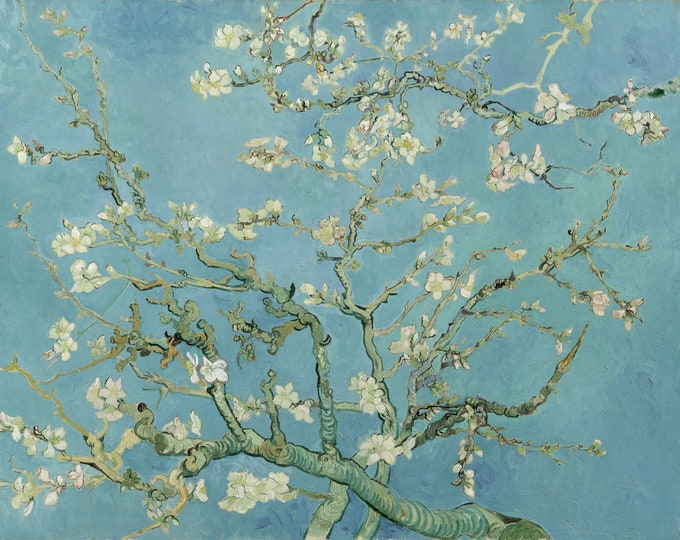 Almond Blossoms (1888-1890) by Vincent Van Gogh Masterpiece Reproduction Printed in Refined Aluminum