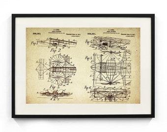 Aerial Machine/Plane Patent Poster Wall Decor (1911 by E Losse)