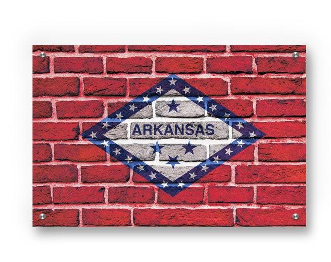 Arkansas State Flag Graffiti Wall Art Printed on Brushed Aluminum
