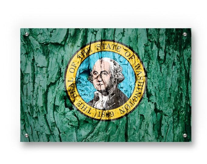 Washington State Flag Graffiti Wall Art Printed on Brushed Aluminum