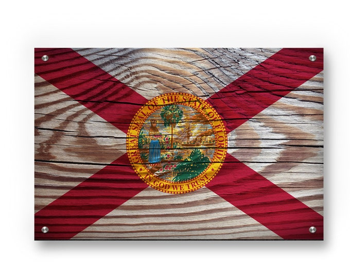 Florida State Flag Graffiti Wall Art Printed on Brushed Aluminum