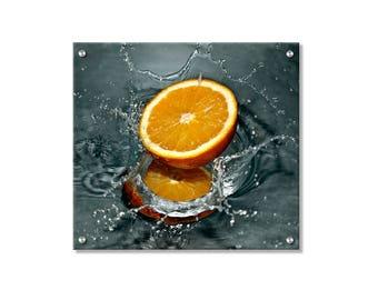 Splashy Orange Metal Wall Art