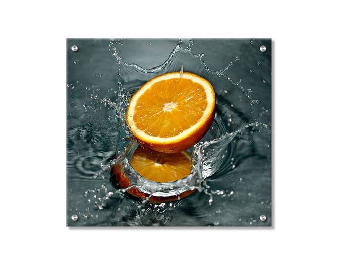 Splashy Orange Metal Wall Art