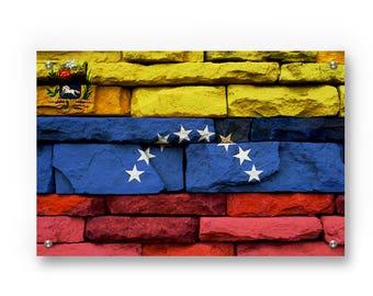 Venezuelan Flag Graffiti Wall Art Printed on Brushed Aluminum