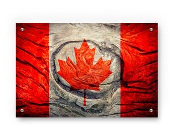 Canadian Flag Graffiti Wall Art Printed on Brushed Aluminum