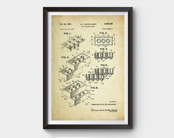Lego Patent Poster Wall Decor (1961 by G.K Christiansen)