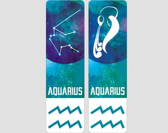 Aquarius Zodiac Sign Indestructible waterproof bookmark