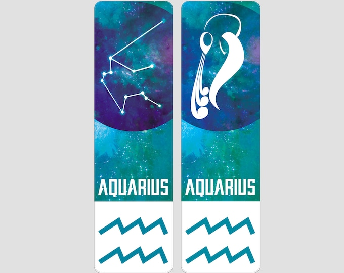 Aquarius Zodiac Sign Indestructible waterproof bookmark
