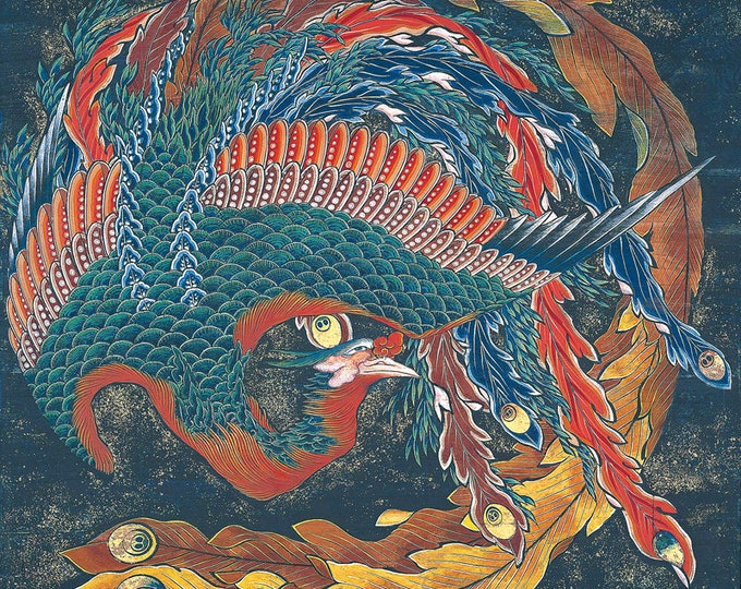 Phoenix  Glaring in All Directions(1829–1833) by Katsushika Hokusai Masterpiece Reproduction Printed in Refined Aluminum