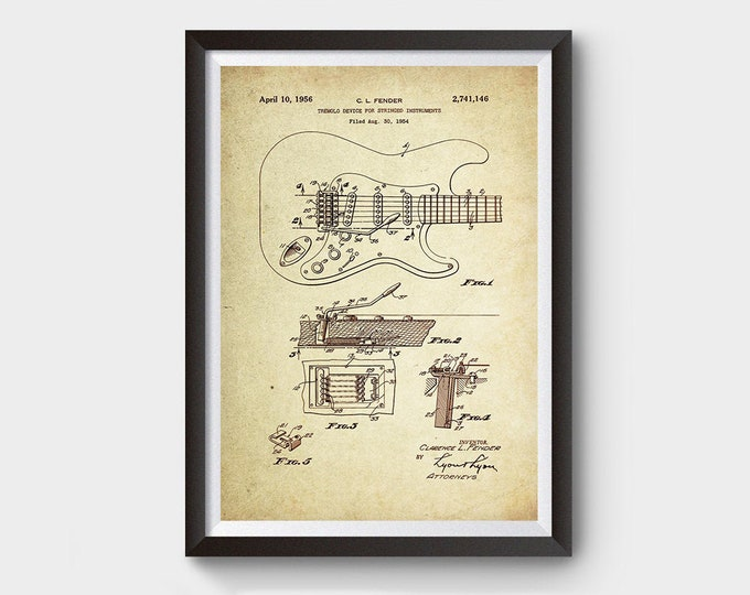Electric Guitar/Tremolo Device Patent Poster Wall Decor (1956 by C.L Fender)
