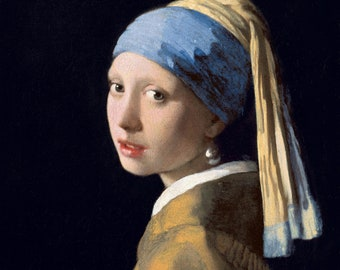The Girl with a Pearl Earring (1665) by Johannes Vermeer Masterpiece Reproduction Printed in Refined Aluminum
