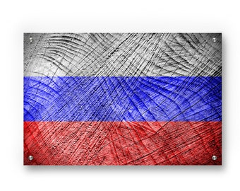Russia Flag Graffiti Wall Art Printed on Brushed Aluminum