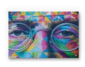 John Lennon Graffiti wall art printed on refined aluminum
