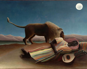 The Sleeping Gypsy (1897) Henri Rousseau Masterpiece Reproduction Printed in Refined Aluminum