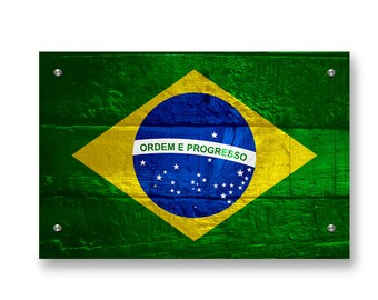 Brazil Flag Graffiti Wall Art Printed on Brushed Aluminum