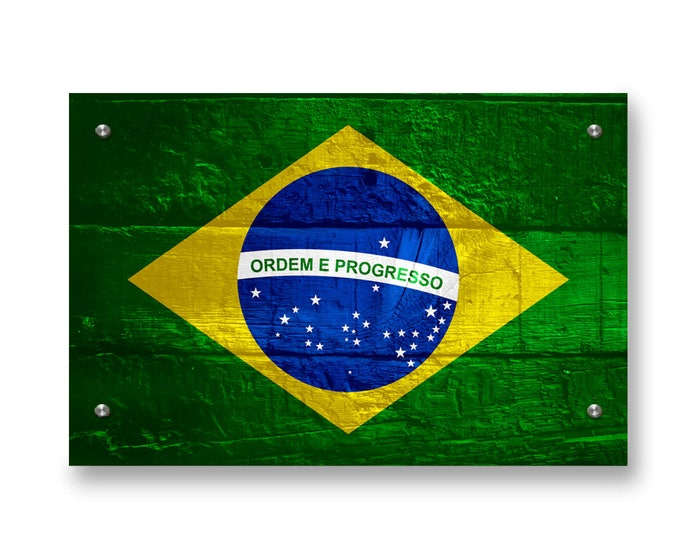 Brazil Flag Graffiti Wall Art Printed on Brushed Aluminum