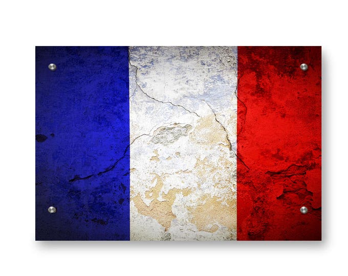 French Flag Graffiti Wall Art Printed on Brushed Aluminum