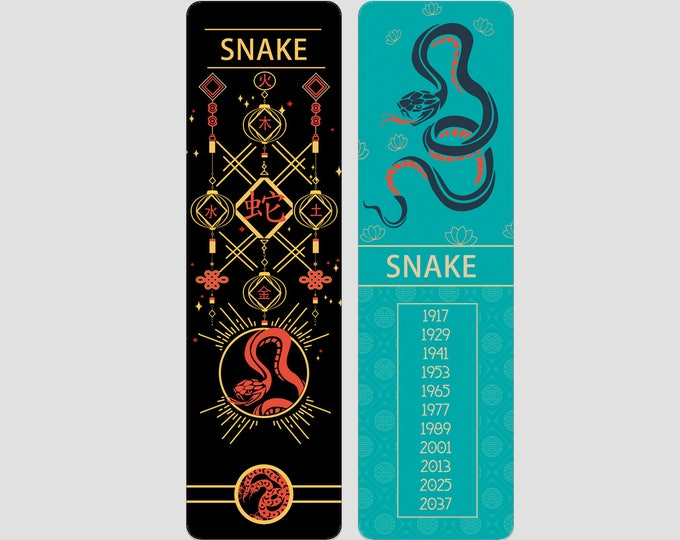 Snake Chinese Zodiac Sign (Sheng Xiao) Bookmark