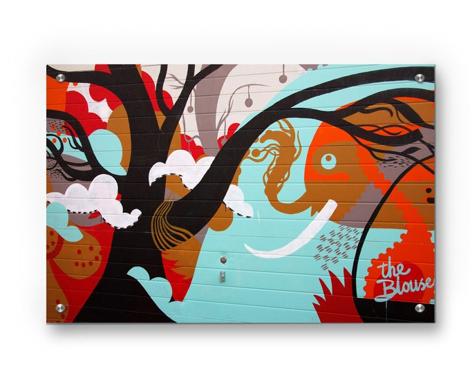 Elephant Graffiti Scenery Mural Wall Art