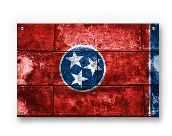 Tennessee State Flag Graffiti Wall Art Printed on Brushed Aluminum