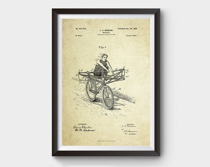 Unorthodox Bicycle Patent Poster (1900, L.S. Burbank)