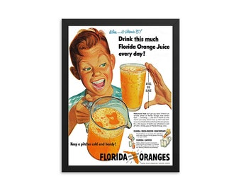 Florida Orange Juice Vintage Ad Poster