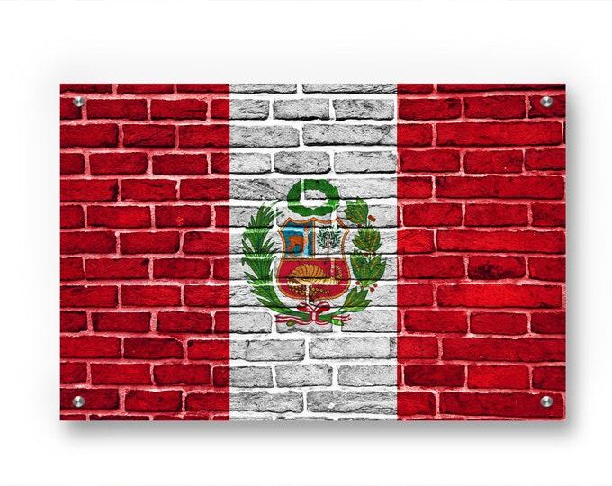 Peru Flag Graffiti Wall Art Printed on Brushed Aluminum