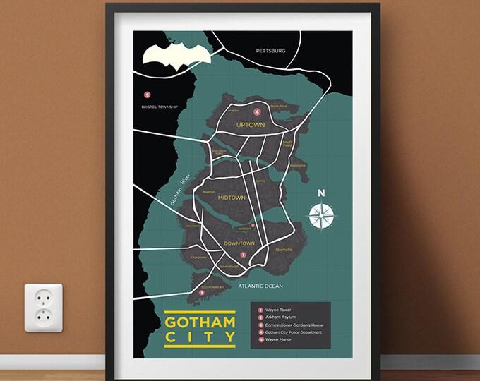Batman's Gotham City Map Wall Art