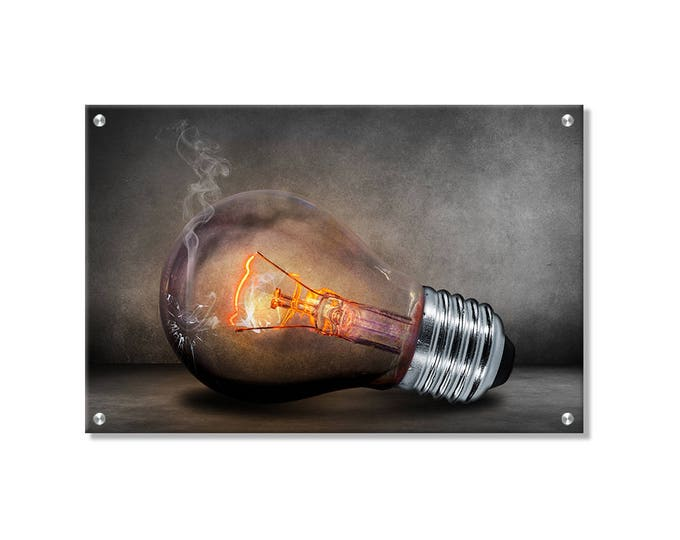 Smoky Bulb Wall Art printed on Brushed aluminum
