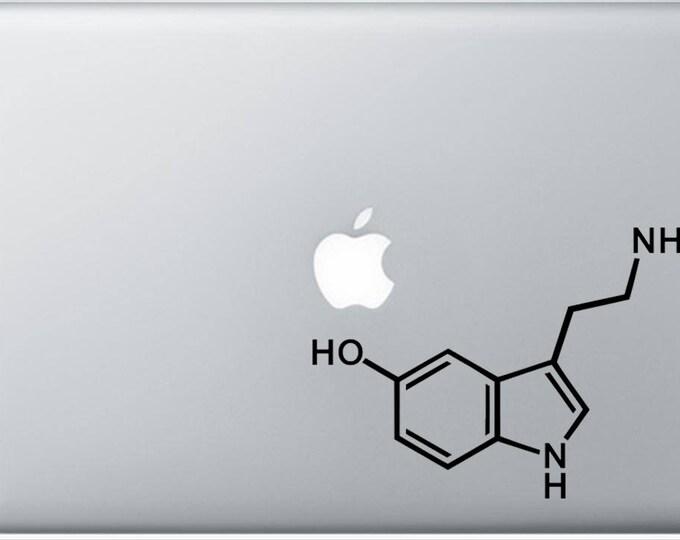 Serotonin Molecule Decal for Laptop, or bumper sticker