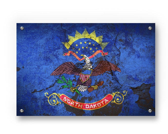 North Dakota State Flag Graffiti Wall Art Printed on Brushed Aluminum