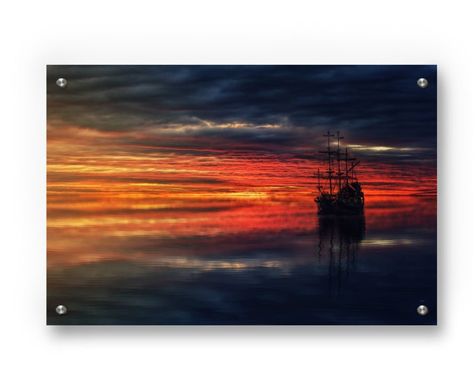Ship at Sunset Wall Art decor printed on Refined Aluminum