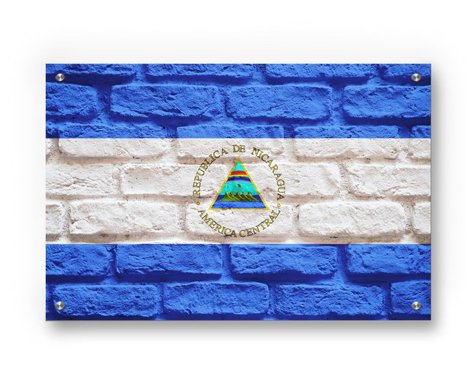 Nicaragua Flag Graffiti Wall Art Printed on Brushed Aluminum