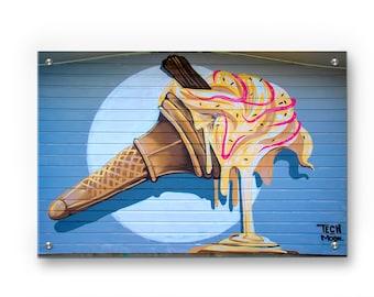 Melting Ice cream Cone Graffiti wall art printed on refined aluminum