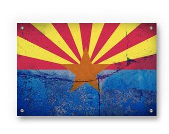 Arizona State Flag Graffiti Wall Art Printed on Brushed Aluminum