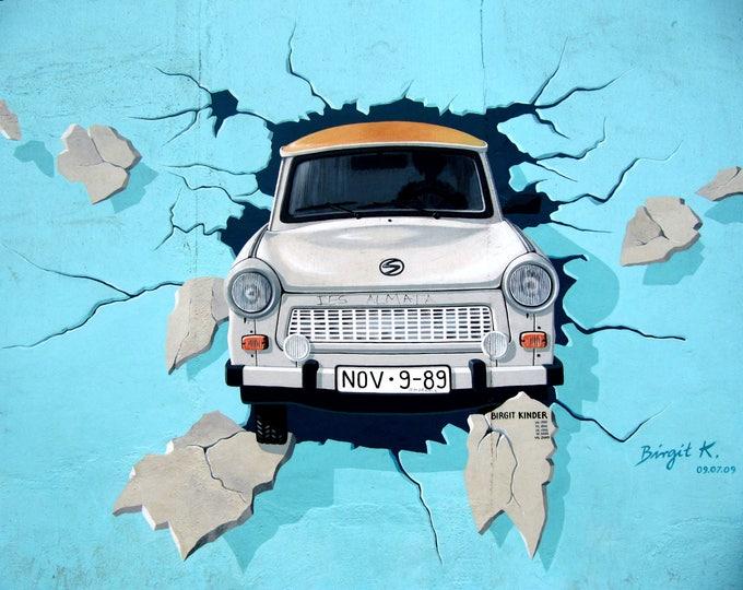 Berlin Wall Graffiti , East germany Trabant printed on refined Aluminum
