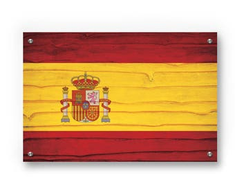 Spain National  Flag Graffiti Wall Art Printed on Brushed Aluminum