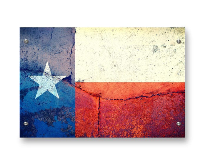 Texas State Flag Graffiti Wall Art Printed on Brushed Aluminum