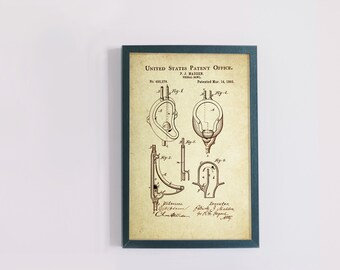 Urinal Bowl Patent Poster Wall Decor (1893 by P.J. Madden)