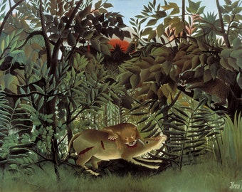 The Hungry Lion Throws Itself on the Antelope -  Henri Rousseau(1905) Masterpiece Reproduction Printed in Refined Aluminum