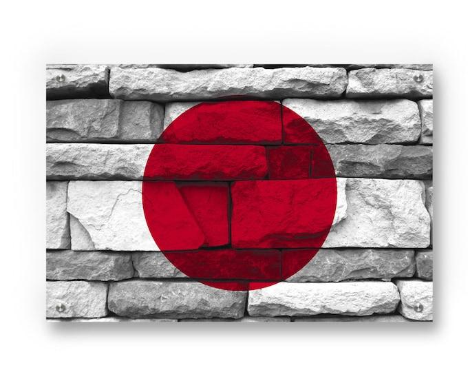 Japan National  Flag Graffiti Wall Art Printed on Brushed Aluminum