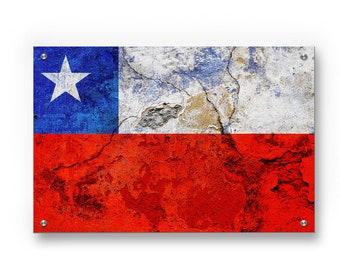 Chile National Flag Graffiti Wall Art Printed on Brushed Aluminum