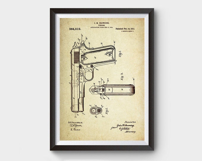 Gun, Firearm Patent Poster Wall Decor (1911 by J.M Browning)