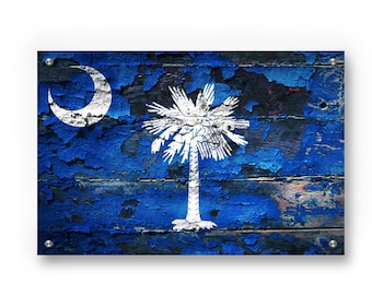 South Carolina  State Flag Graffiti Wall Art Printed on Brushed Aluminum