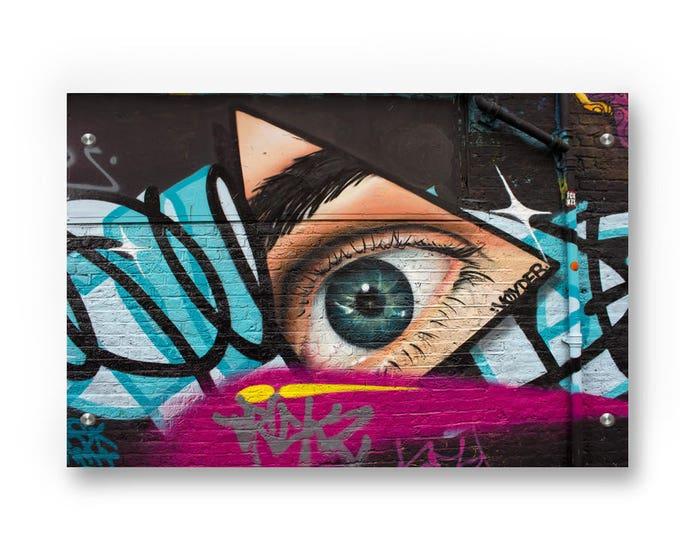 Hipster Eye of ProvidenceGraffiti Wall Art Printed on Refined  Aluminum