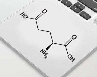 Glutamate Chemical Structure for Walls, Computers or as Bumper Sticker