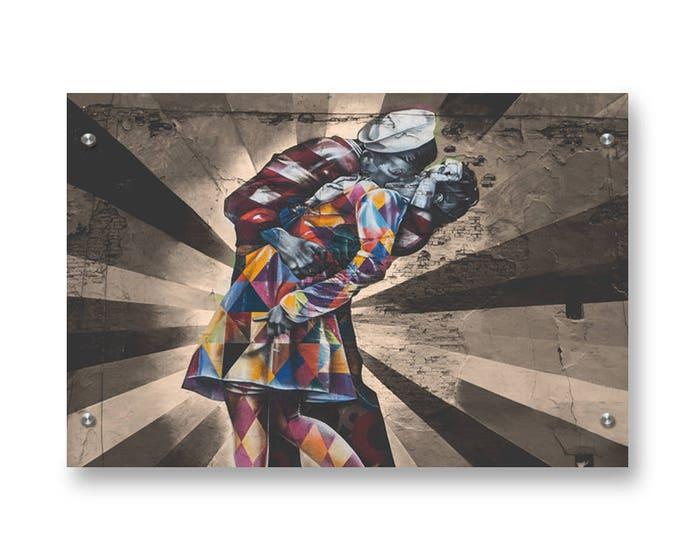 Modern V day Kiss Graffiti Wall Art Printed on Refined  Aluminum