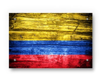 Colombian Flag Graffiti Wall Art Printed on Brushed Aluminum